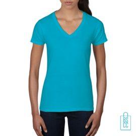 T-Shirt dames V-Hals casual bedrukken lichtblauw, v-hals bedrukt, bedrukte v-hals met logo