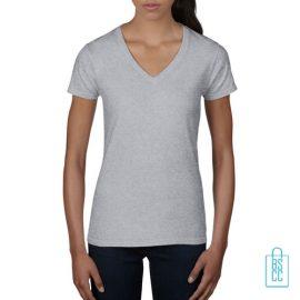 T-Shirt dames V-Hals casual bedrukken lichtgrijs, v-hals bedrukt, bedrukte v-hals met logo