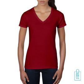 T-Shirt dames V-Hals casual bedrukken rood, v-hals bedrukt, bedrukte v-hals met logo