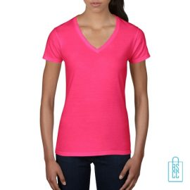 T-Shirt dames V-Hals casual bedrukken roze, v-hals bedrukt, bedrukte v-hals met logo
