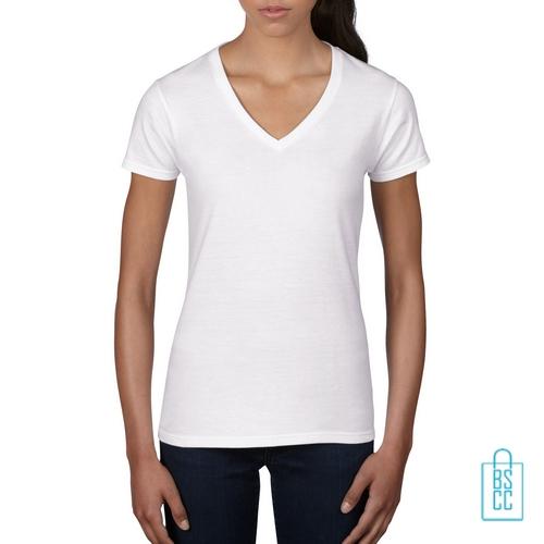 T-Shirt dames V-Hals casual bedrukken wit, v-hals bedrukt, bedrukte v-hals met logo