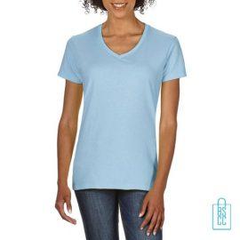 T-Shirt dames v-hals Tee bedrukken babyblauw, v-hals bedrukt, bedrukte v-hals met logo