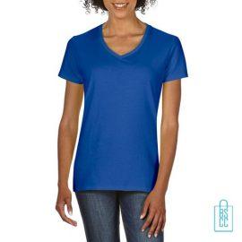 T-Shirt dames v-hals Tee bedrukken blauw, v-hals bedrukt, bedrukte v-hals met logo