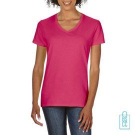 T-Shirt dames v-hals Tee bedrukken fuchsia, v-hals bedrukt, bedrukte v-hals met logo