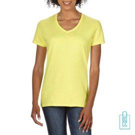 T-Shirt dames v-hals Tee bedrukken geel, v-hals bedrukt, bedrukte v-hals met logo