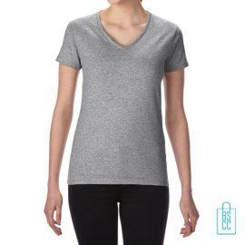 T-Shirt dames v-hals Tee bedrukken grijs, v-hals bedrukt, bedrukte v-hals met logo