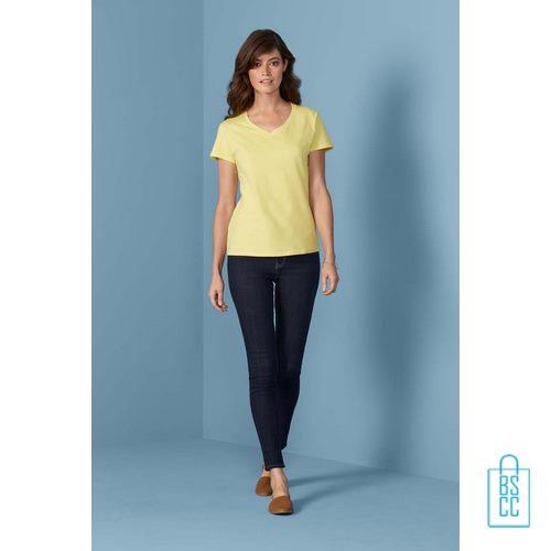 T-Shirt dames v-hals Tee bedrukken met logo, v-hals bedrukt, bedrukte v-hals met logo