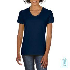 T-Shirt dames v-hals Tee bedrukken navy, v-hals bedrukt, bedrukte v-hals met logo