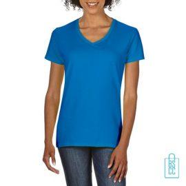T-Shirt dames v-hals Tee bedrukken oceaanblauw, v-hals bedrukt, bedrukte v-hals met logo