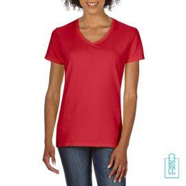 T-Shirt dames v-hals Tee bedrukken rood, v-hals bedrukt, bedrukte v-hals met logo