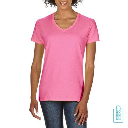 T-Shirt dames v-hals Tee bedrukken roze, v-hals bedrukt, bedrukte v-hals met logo