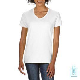 T-Shirt dames v-hals Tee bedrukken wit, v-hals bedrukt, bedrukte v-hals met logo