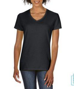 T-Shirt dames v-hals Tee bedrukken zwart, v-hals bedrukt, bedrukte v-hals met logo