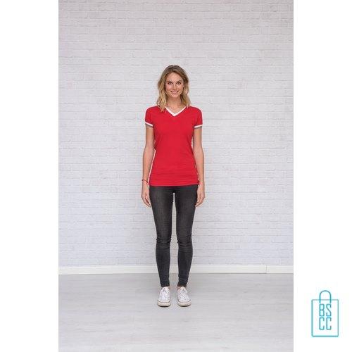T-Shirt dames v-hals biesje bedrukken goedkoop, v-hals bedrukt, bedrukte v-hals met logo