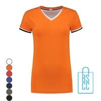 T-Shirt dames v-hals biesje bedrukken, v-hals bedrukt, bedrukte v-hals met logo