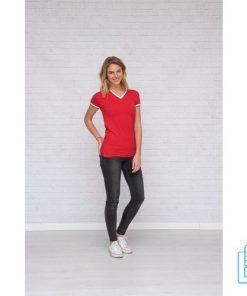 T-Shirt dames v-hals biesje bedrukt, v-hals bedrukt, bedrukte v-hals met logo
