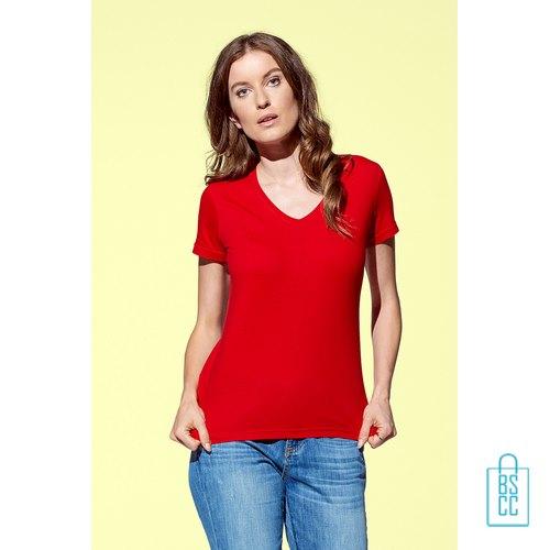 T-Shirt dames v-hals budget bedrukken goedkoop, v-hals bedrukt, bedrukte v-hals met logo