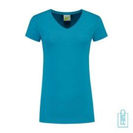 T-Shirt dames v-hals premium bedrukken aqua, v-hals bedrukt, bedrukte v-hals met logo