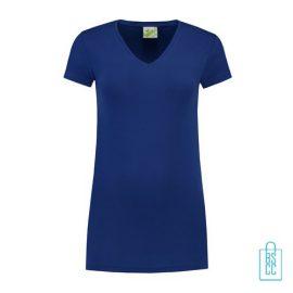 T-Shirt dames v-hals premium bedrukken blauw, v-hals bedrukt, bedrukte v-hals met logo