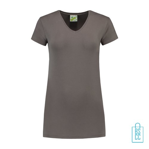 T-Shirt dames v-hals premium bedrukken grijs, v-hals bedrukt, bedrukte v-hals met logo