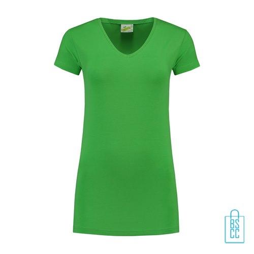 T-Shirt dames v-hals premium bedrukken groen, v-hals bedrukt, bedrukte v-hals met logo