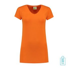 T-Shirt dames v-hals premium bedrukken oranje, v-hals bedrukt, bedrukte v-hals met logo