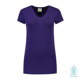 T-Shirt dames v-hals premium bedrukken paars, v-hals bedrukt, bedrukte v-hals met logo
