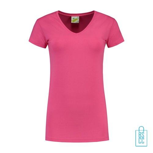 T-Shirt dames v-hals premium bedrukken roze, v-hals bedrukt, bedrukte v-hals met logo