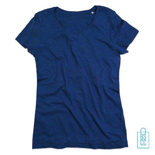 T-Shirt dames v-hals trendy bedrukken blauw, v-hals bedrukt, bedrukte v-hals met logo
