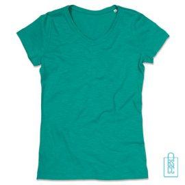 T-Shirt dames v-hals trendy bedrukken groen, v-hals bedrukt, bedrukte v-hals met logo