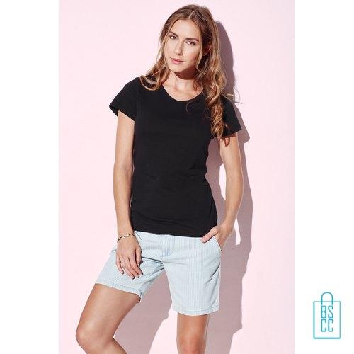 T-Shirt dames v-hals trendy bedrukken met logo, v-hals bedrukt, bedrukte v-hals met logo