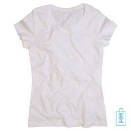 T-Shirt dames v-hals trendy bedrukken wit, v-hals bedrukt, bedrukte v-hals met logo