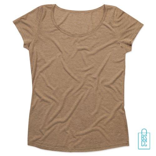 T-Shirt vrouwen Vintage bedrukken Camel bruin