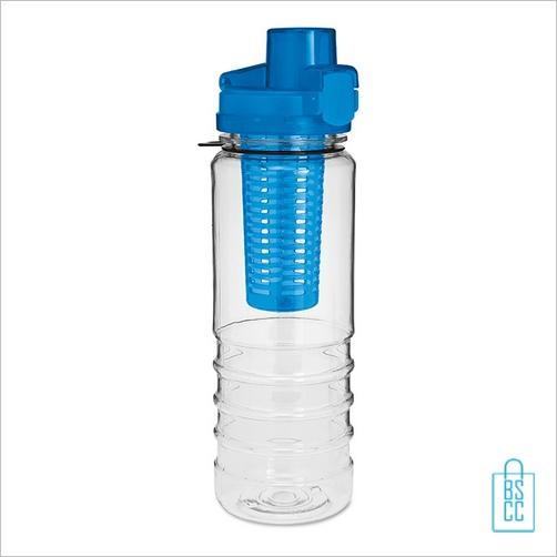 Drinkfles fruitcompartiment bedrukken blauw fruitbidon