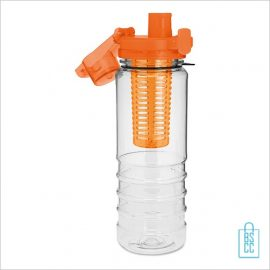 Drinkfles fruitcompartiment bedrukken oranje open