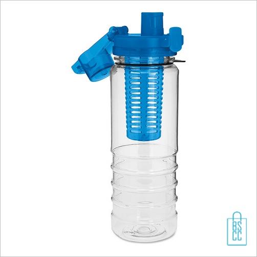 Drinkfles fruitcompartiment bedrukt blauw