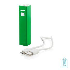 Goedkope powerbank vierkant bedrukken groen