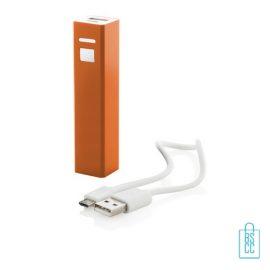 Goedkope powerbank vierkant bedrukken oranje
