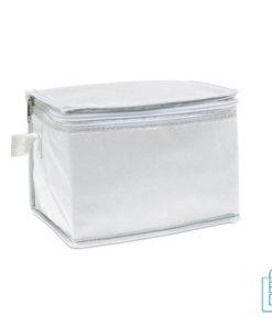 Koeltas blikjes sixpack bedrukken wit met logo