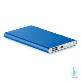 Powerbank plat bedrukken blauw