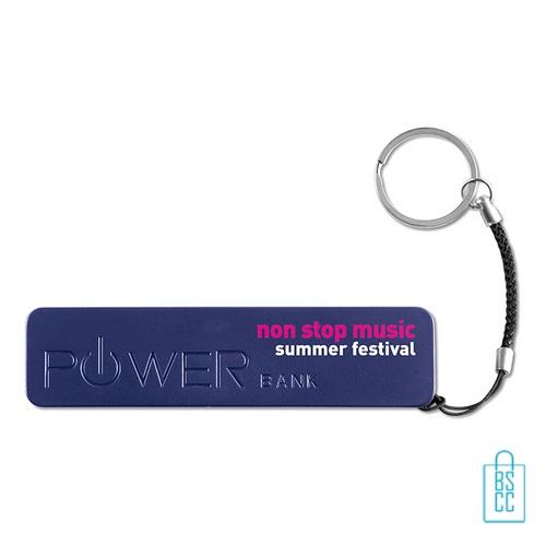 Powerbank sleutelhanger bedrukken met logo blauw