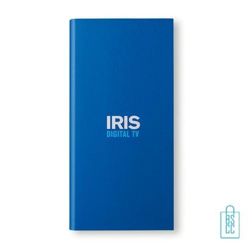 Powerbank solar bedrukken met logo blauw