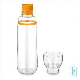 Transparante bidon bedrukken oranje bekertje