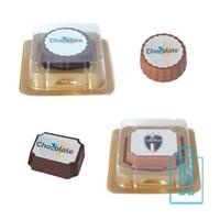 Bonbon hazelnoot praline bedrukken met logo, chocola bedrukken