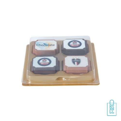 Bonbon set 4 stuks bedrukken in doosje, chocola bedrukken