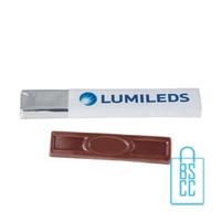 Chocolade stick bedrukken met logo, chocola bedrukken
