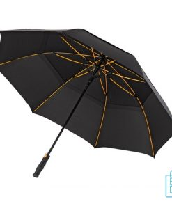 Luxe paraplu bedrukken GP-76 zwart gele baleinen