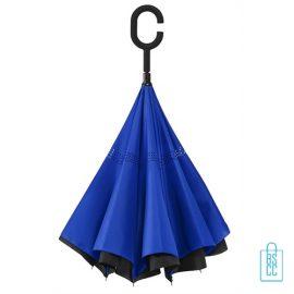 Luxe paraplu bedrukken RU-6 blauw blijft zelf staan