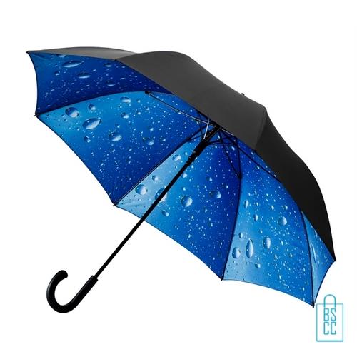Luxe paraplu bedrukken regendruppel GP-54 zwart