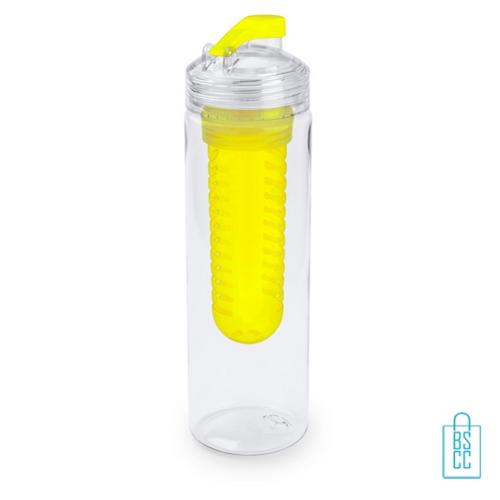 Bidon fruit filter 700ml bedrukt compartiment geel